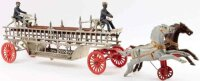 Ideal Toy Cast-Iron-Carriages Two horse drawn ladder...