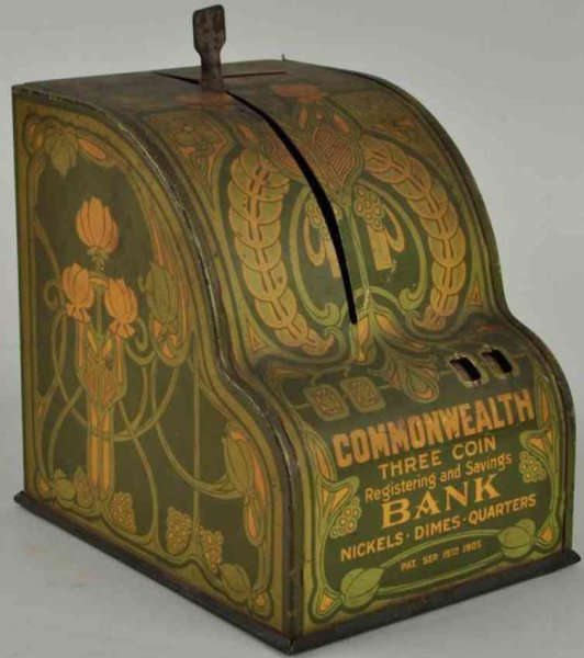 Shonk Works American Can Co Tin-Mechanical Banks Commonwealth three coin still bank, made of lithogr