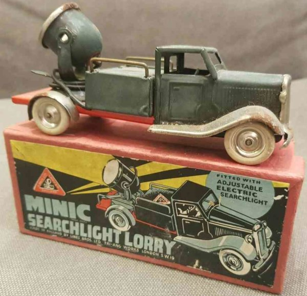 Tri-Ang Tin-Trucks Minic searchlight lorry with illustrated original box, with