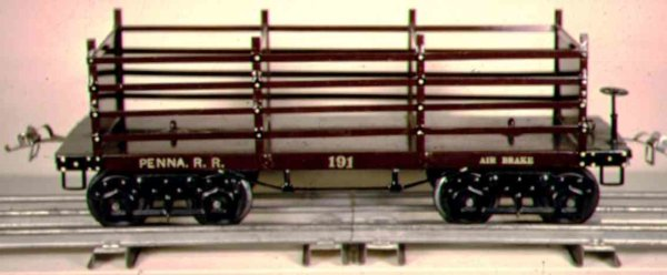 Ives Railway-Freight Wagons Coke car #191 (1922) with eight wheels, made of tin, painted