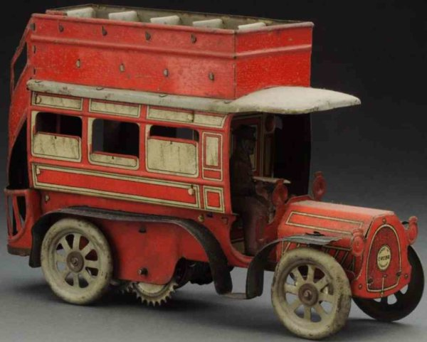 Orobr Tin-Buses Double decker bus, wind-up toy, made of lithographed tin. Or