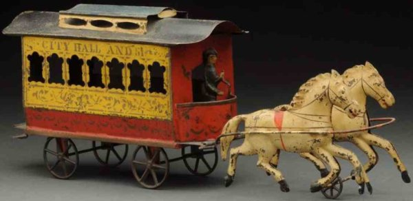 Unknown Tin-Carriages Early American horse drawn trolley made of tin. Atypical in
