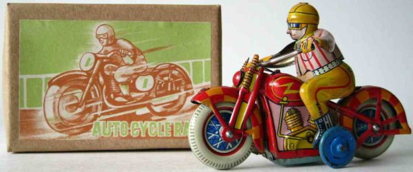 Nikko Toy Industry Tin-Penny Toy Race motorcycle with friction drive, made of tin, with origi