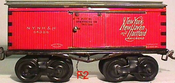 Ives Railway-Freight Wagons Merchandise car #64386 with eight wheels, box car with slidi