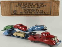 Marx Tin-Trucks Auto transport trailer made of pressed...
