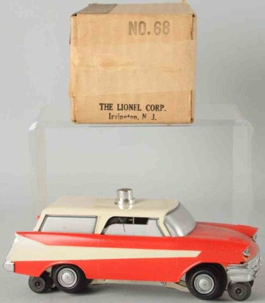 Lionel Celluloid-Vehicles Executive inspection car #68 is based on the design of the 1