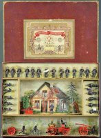 Mignot Tin-Figures Fire brigade set with burning home,...