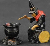 Johillco John Hill Cast-Iron Figures Witch with cauldron,...