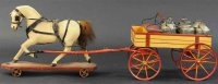 Maerklin Tin-Carriages Milk cart #1363/1 with 6 milk cans...