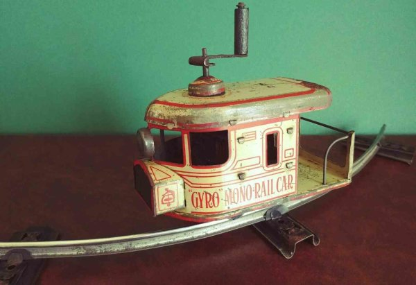 Ely Cycle Co Tin-Toys Gyro monorail. Thanks to the sophisticated mechanics, inspir
