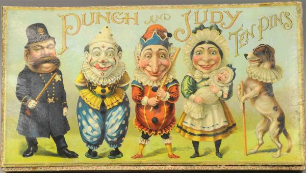 McLoughlin Brothers Wood-Figures Punch & Judy ten pins game, beautiful box contains ten figur