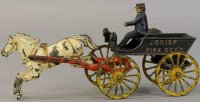 Ives Cast-Iron-Carriages Fire chief wagon drawn by one...