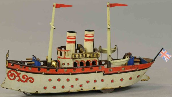 Orobr Tin-Ships Battleship gunboat with windup motor and an adjustable front