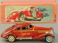 Kuramochi Tin-Oldtimer Police car with clockwork. ery...