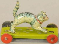 Meier Tin-Penny Toy Shrieking cat on light green...