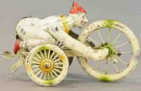Unknown Tin-Clowns Clown riding hand tricycle, very...
