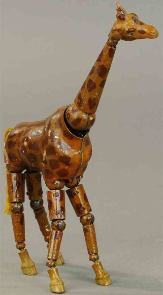 Bucherer A. & Cie Company Tin-Animals Giraffe very rare, metal fully jointed figure with compositi