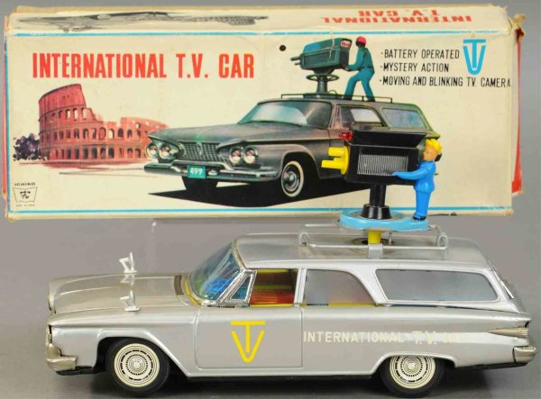 Ichiko Tin-Oldtimer International TV car, battery operated, scarce example, movi