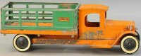 Structo Tin-Trucks Stake side delivery truck in orange...