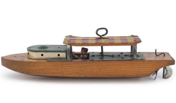 Liberty Playthings Tin-Ships Cabin cruiser river boat, made with a wooden hull, a lithogr