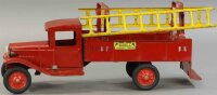 Buddy L Tin-Fire-Truck Fire ladder truck, in red with two...