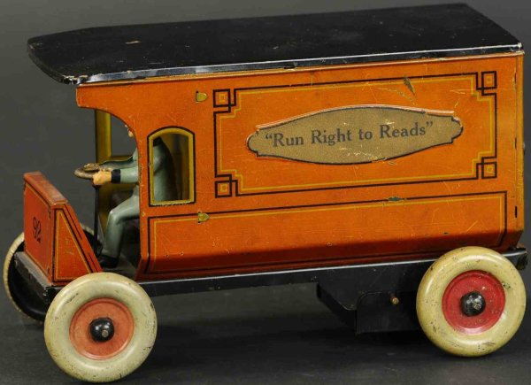 Strauss Tin-Trucks Tin lithographed van with wind-up, marked with the company s