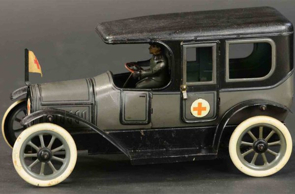 Bub Tin-Oldtimer Red cross ambulance car, scarce example of early medical wag