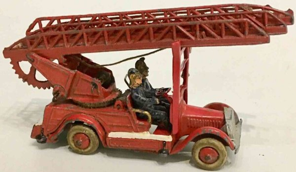 Taylor & Barrett Cast-Iron fire trucks Die-cast turntable fire ladder engine with two fire fighters