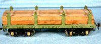 Ives Railway-Freight Wagons Lumber car #197 with eight...