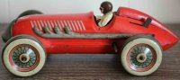 Ingap Tin-Race-Cars Race car made of tin in red, wind-up...