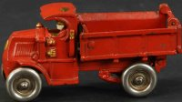 Hubley Cast-Iron trucks Spring loaded dump truck,  long...