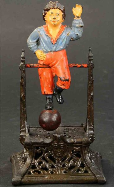 Barton J and Smith Co. Cast-Iron-Mechanical Banks Boy on the trapeze mechanical bank, The boy revolv