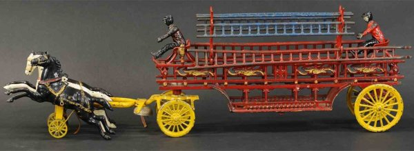 Dent Hardware Co Cast-Iron-Carriages Oversized hook and ladder cast iron toy, this massive horse