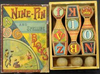 McLoughlin Brothers Wood-Figures Nine pin set, early...