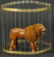 Schoenhut Wood-Animals Lion in cage with glass eyes,...